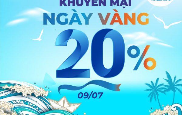 VinaPhone tặng 20% giá trị thẻ nạp trong ngày vàng 09/07/2021